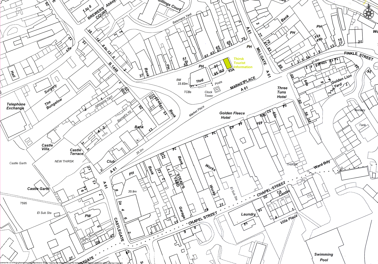 Map of the yards off Thirsk Market Place