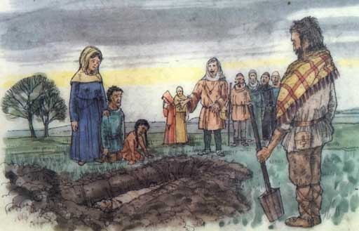Drawing of saxon burial