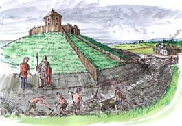 Drawing of a motte and bailey castle