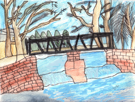 Child's drawing of the footbridge over the weir