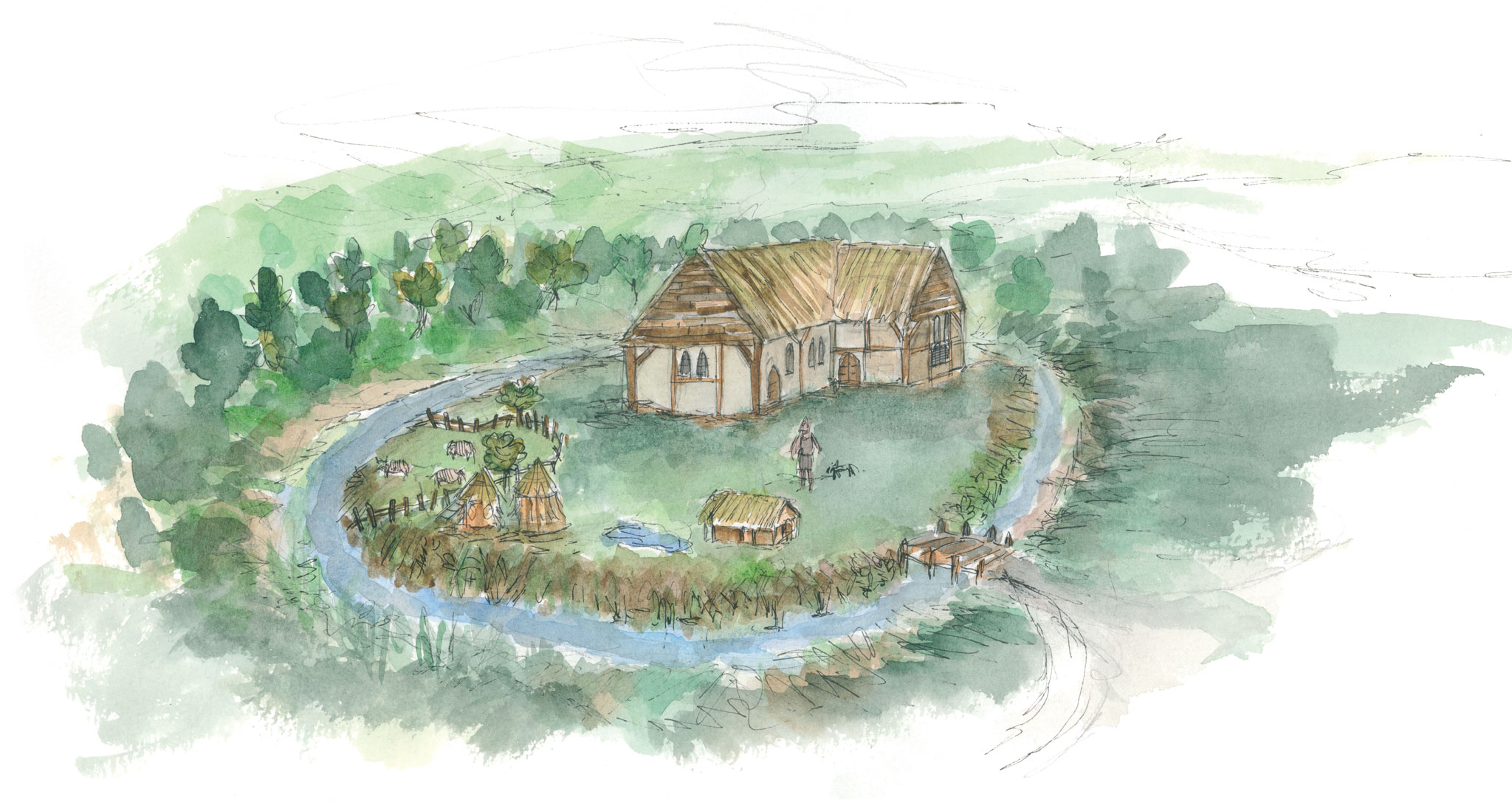 Painting of how the medieval moated site might have looked