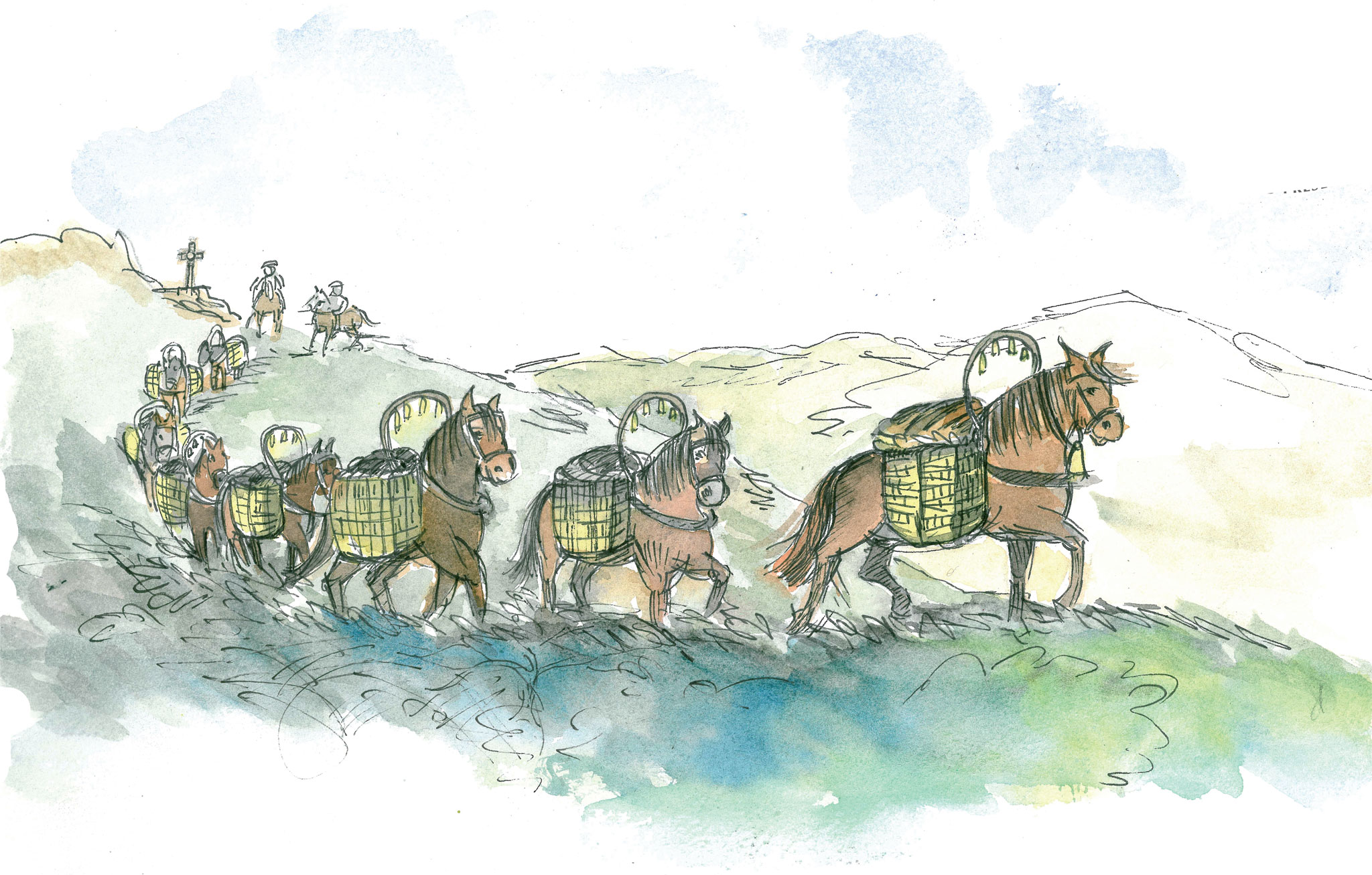 Drawing of a pack-horse train